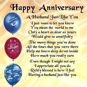 Personalised Coaster A Husband Poem Happy Anniversary