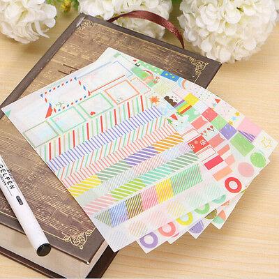 6 Blatt Kalender Papier Sticker Scrapbook Kalender Tagebuch Planer dekoratiUU YR