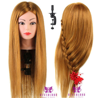 24'' 60CM 60% Human Hair Training Head Hairdressing Mannequin Doll with Clamp