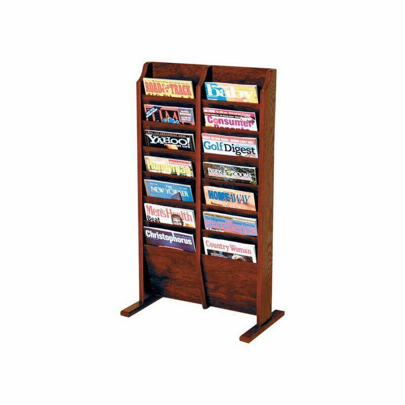 Wooden Mallet 14 Pocket Magazine Rack in Mahogany