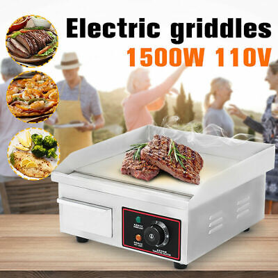 Electric Griddle Flat Top Grill 1500w 14 Hot Plate Bbq Countertop Home Us