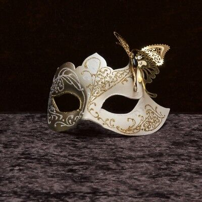 Mask Venice Colombine White butterfly golden Paper Mache Metal 223