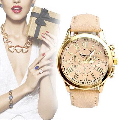 Fashion New Women Leather Band Stainless Steel Quartz Analog Wrist Watch
