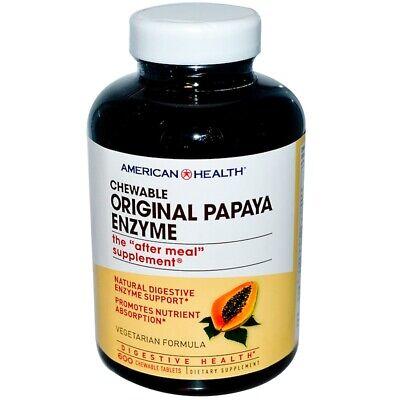 American Health Original Papaya Enzyme Chewable 600 Tablets FRESH Made In USA Chewable Original Papaya