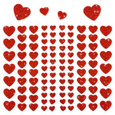 106 Herz Aufkleber mit Glitzer Effekt in Rot Herzen Sticker Scrapbooking Deko