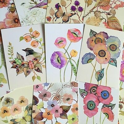 LOT 22PCS Postcard Watercolor Flowers Birds Butterfly Card Set Bulk Postcrossing
