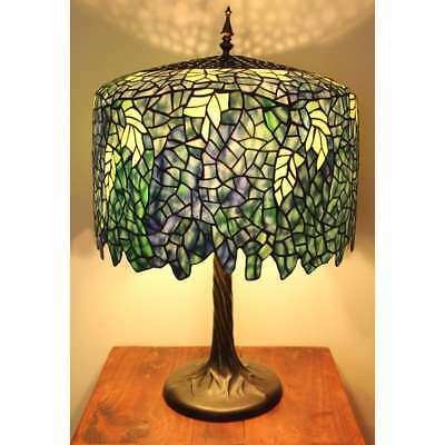 Blue Wisteria Tiffany Style Table Lamp/w Tree Trunk Base Handcrafted 18