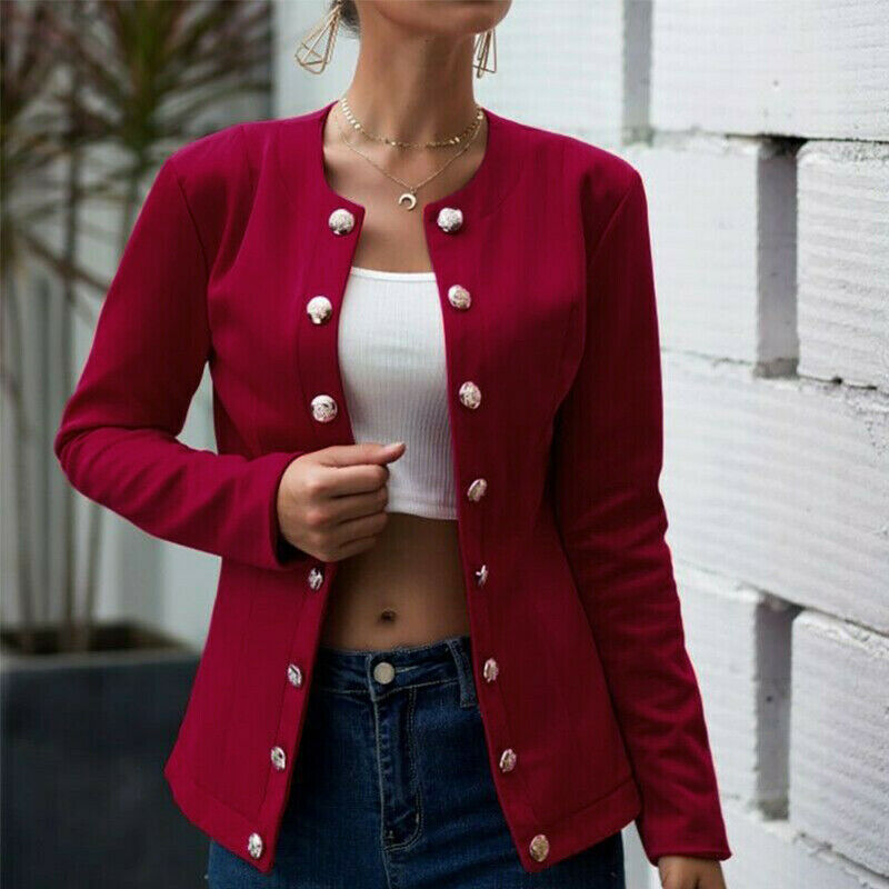 Womens Double Breasted Blazer Jacket Plain Slim Fit Coat Casual Cardigan Outwear Clothing, Shoes & Accessories