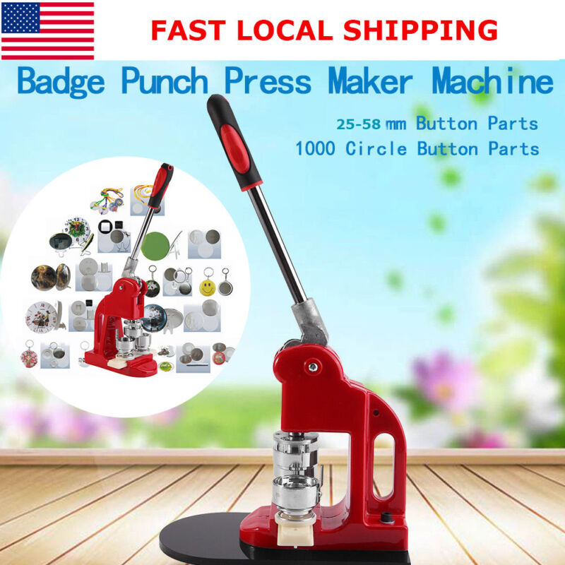 """1""""/1.25""""/2.28"""" 1000 Buttons Circle Badge Punch Press Pin Button Maker Machine US"""