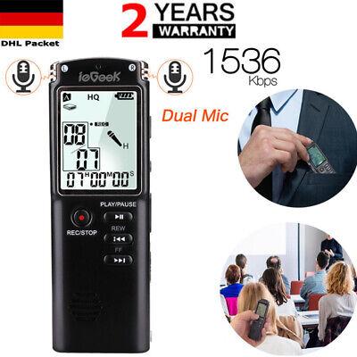 LCD Diktiergerät Wiederaufladbare Digital Aufnahmegerät Sound Voice Recorder MT