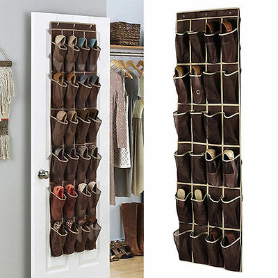 24 Pocket Shoe Space Door Hanging Organizer Rack Wall Bag Storage Closet Holder