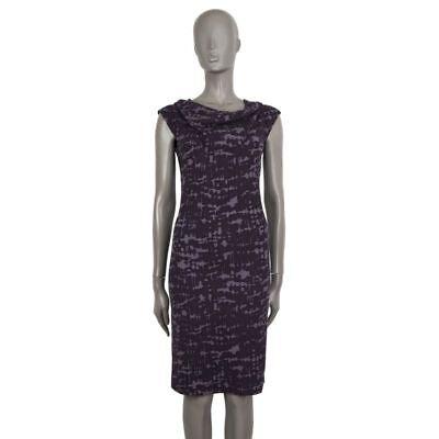 56520 auth Bottega Veneta purple & lilac wool PLEATED Cap Sleeve Dress 38 XS