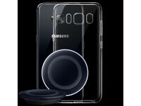 Samsung S8 / S8 Plus - Wireless Charger + Screen Protector + Clear See Thru Gel Cover - Brand New