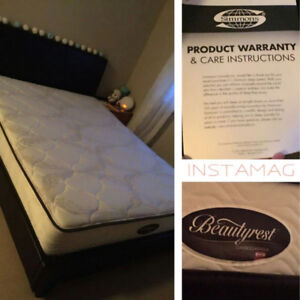 Leather bed frame & Queen sized Simmons mattress