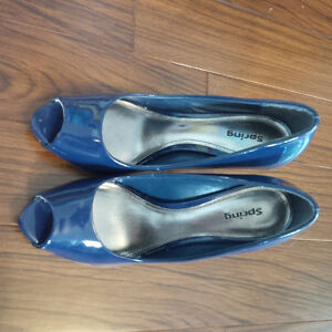 Navy Blue Peep Toe Pumps - Size 8 London Ontario image 4