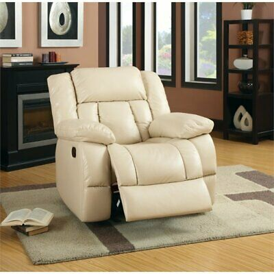 Furniture of America Frey Leather Glider Recliner in Ivory