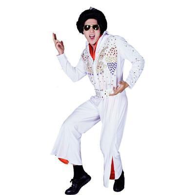 Costume da Elvis Presley vestito completo bianco carnevale abito adulti 70 80