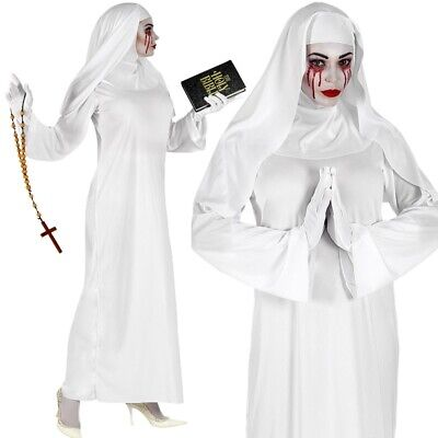 stüm Halloween Geist Horrorfilm Zauberkostüm Kleid mit Haube (Nonne Kostüm Geist, Halloween)