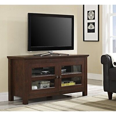 Walker Edison Stylish 44 Full-Door Wood TV Console - Traditional Brown WQ44CFDTB