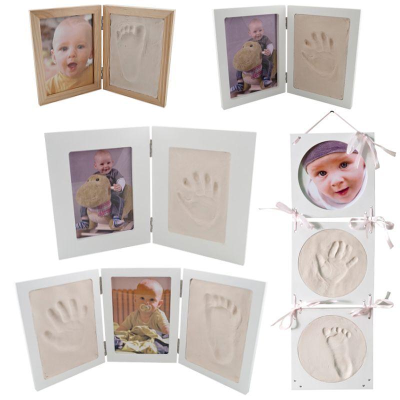 Bilderrahmen Gipsabdruck SET Abdruckset Handabdruck Fußabdruck Baby Hand Fuß NEU