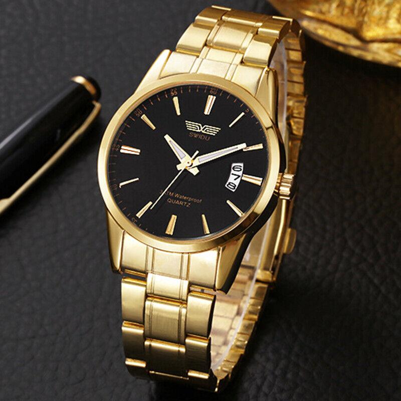 Herren Edelstahl Uhr Luxus Analog Quarz Gold Sport Uhren Wasserdichte Armbanduhr