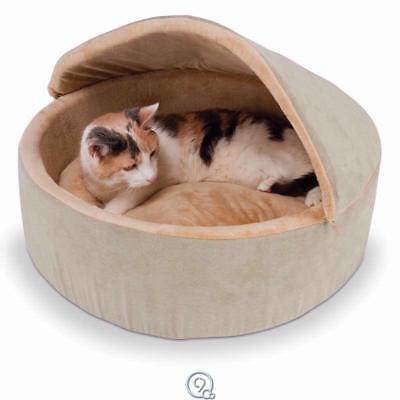 Small Warming Cat & Dog Covered Bed with Hood Microfleece Lining Foam Filled Pet