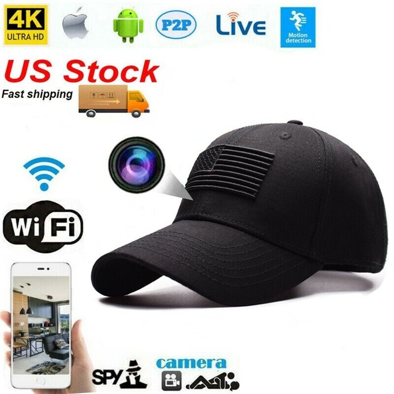 HD 4K Wireless wifi IP Live streaming Baseball Hat Cap Spy Camera Video Recorder