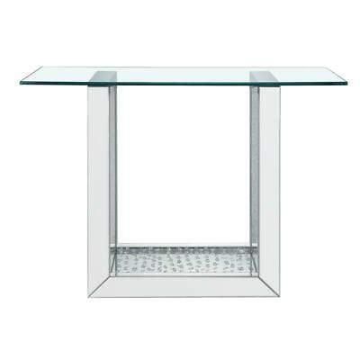 Acme Nysa Console Table in Mirrored & Faux Crystals