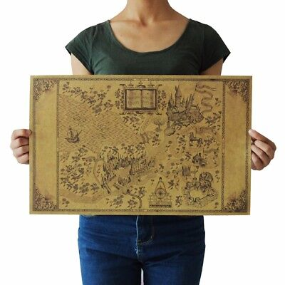 (US SELLER-Harry Potter Magic Old World Map kraft paper retro poster wall hanging)