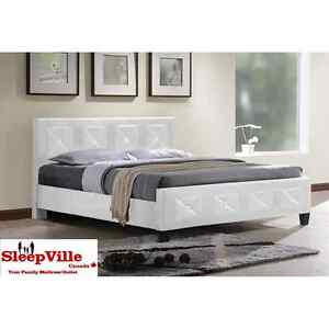PREMIUM JEWEL QUEEN PLATFORM BED/ BLACK / WHITE FREE DELIVERY