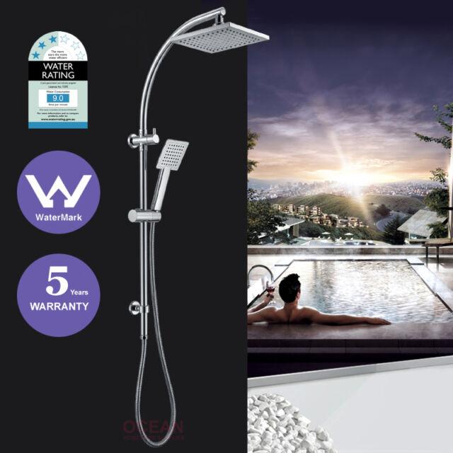 WELS 2 in 1 Square 8'' Shower Head Handheld Sliding Rail Diverter Wall Arm Set