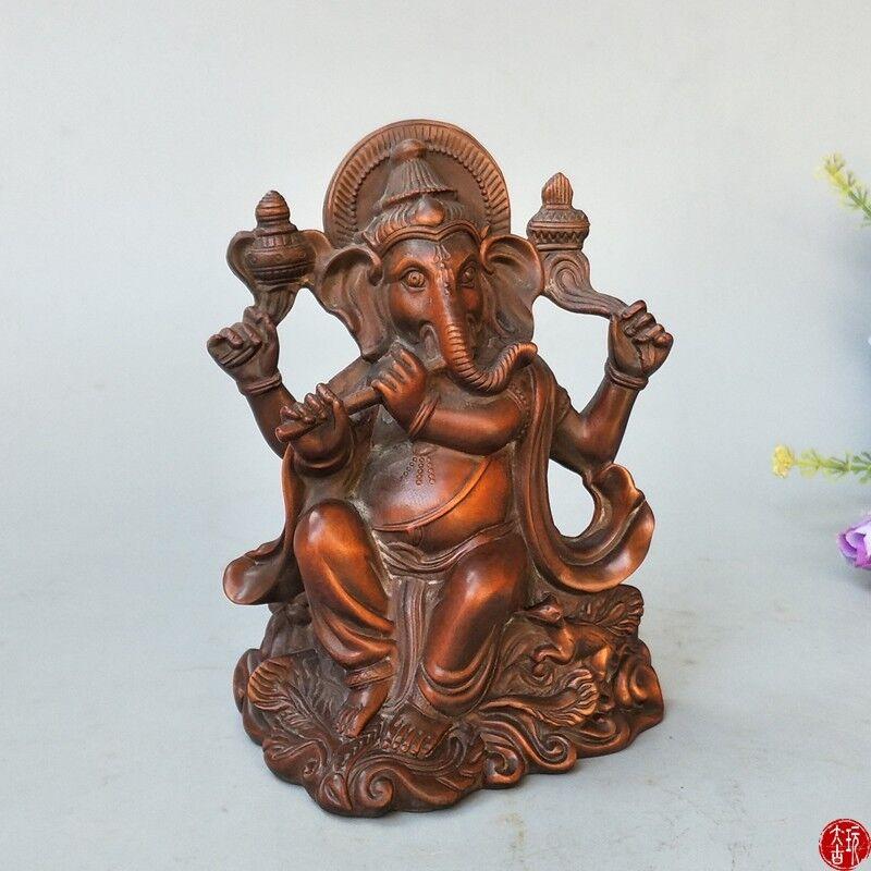 Chinese Natural boxwood handmade elephant nose Buddha statue Home Decoration