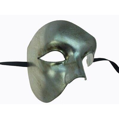 PHANTOM MENS MASQUERADE MARDI GRAS VENETIAN COSTUME HALF MASK SILVER BLANK - Masquerade Masks Plain