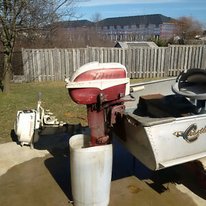 OLD OUTBOARD MOTORS BOAT AND TRAILER ETC