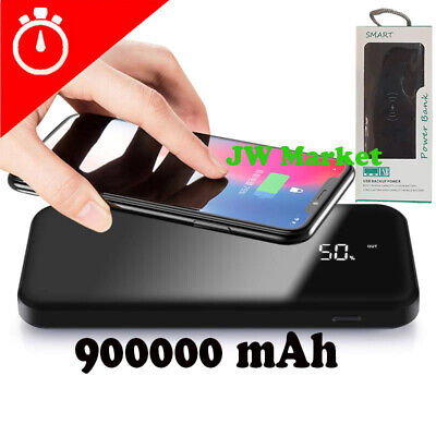 Power Bank 900000mAh Qi Wireless External Battery Charger Portable Fast Charging