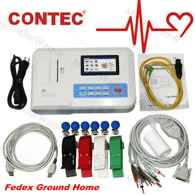 Contec Ecg300g Digital 3 Channel 12 Lead Electrocardiograph Ekg Machine Pc Sw