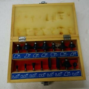15 pc router bit set in wooden case never used