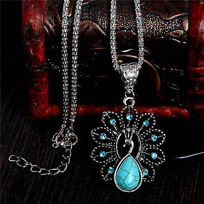 - Wholesale Peacock Crystal Turquoise Pendant Vintage Women Sweater Chain Necklace