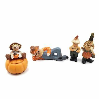 Scarecrow Pumpkin Fall Thanksgiving Lot Candle Holder Mini Decor Ceramic Cute
