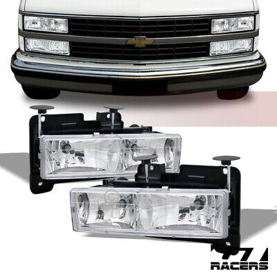 For 1994-2000 Chevy/GMC C10 C/K Pickup Truck Chrome Crystal Headlights Lamps dy