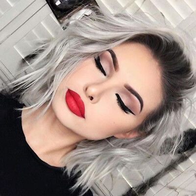 Dark Roots Ombre Gray Lace Front Wigs Short Bob Natural Wavy Wigs For Halloween