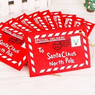 Red Christmas Decorations (Xmas Santa Envelope Non-woven Red Print Bag Christmas Tree Pendant Hanging)