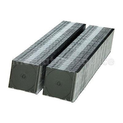 200 Slim 5.2mm Single Black Cd Disc Storage Jewel Case