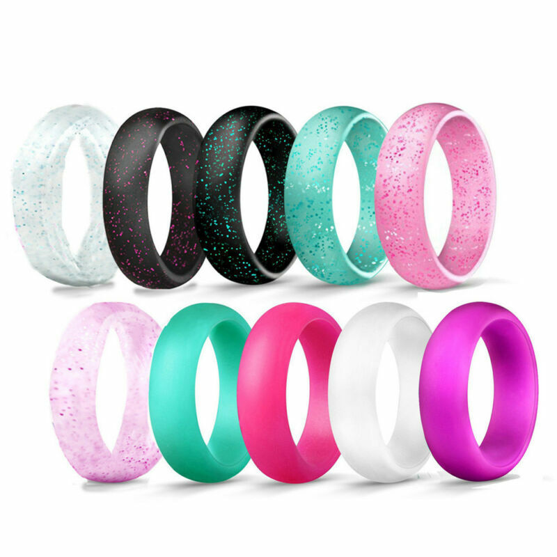 Women Glitter Rings Silicone Rubber Wedding Band Ring Comfortable Size 5-10