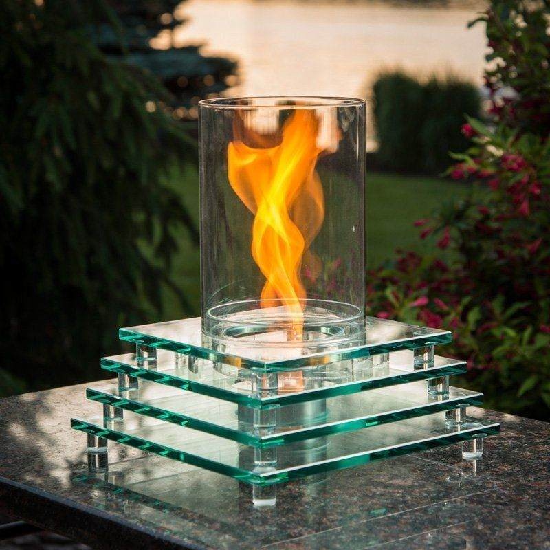 Glass tabletop fire pit