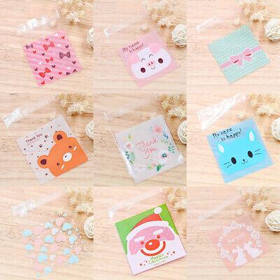 100PCS/Pack Cute Cartoon Gifts Bags Cookie Packaging Self-adhesive Plastic Bags](Cute Gift Bags)