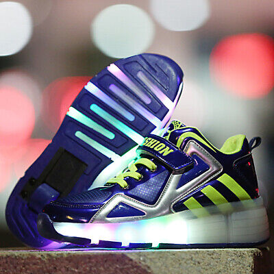 Kids LED Light Up Roller Skate Shoes Signle Wheel Sports Sneaker Girls Boys Gift