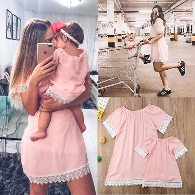US Family Matching Outfit Mother and Daughter Clothes Dress Baby Girl Lace Skirt