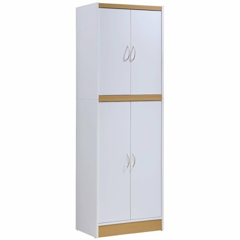 Hodedah 4 Door Kitchen Pantry with 4 Shelves 5 Compartments in White