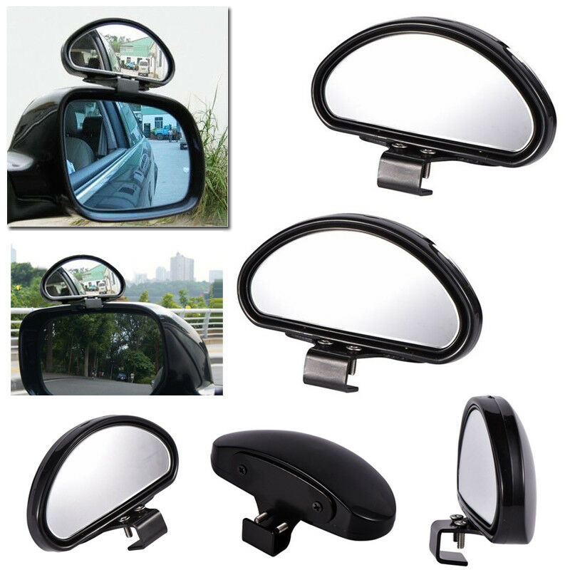 2pcs Black HD Side View Car Adjustable Blind Spot Wide Angle Rear Mirror #080